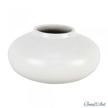 Vaso Achatado em Cerâmica Off White