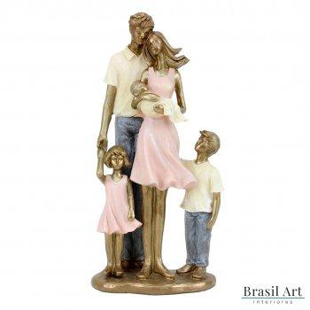 Estátua Casal com Crianças e Bebê