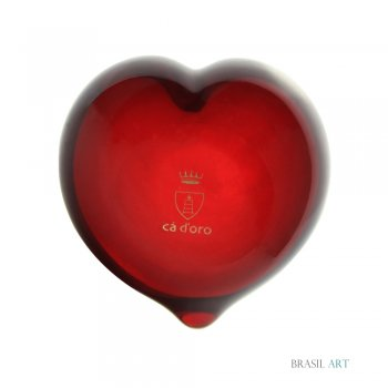Coração Vermelho em Cristal Murano