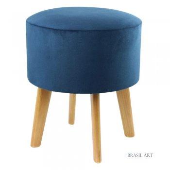 Puff Redondo Azul Marinho