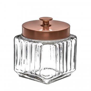 Porta Mantimento em Vidro Rose Gold 1,2L